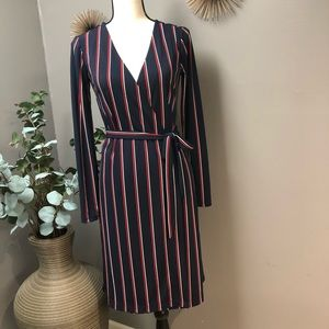 Tommy Hilfiger navy red and white wrap dress